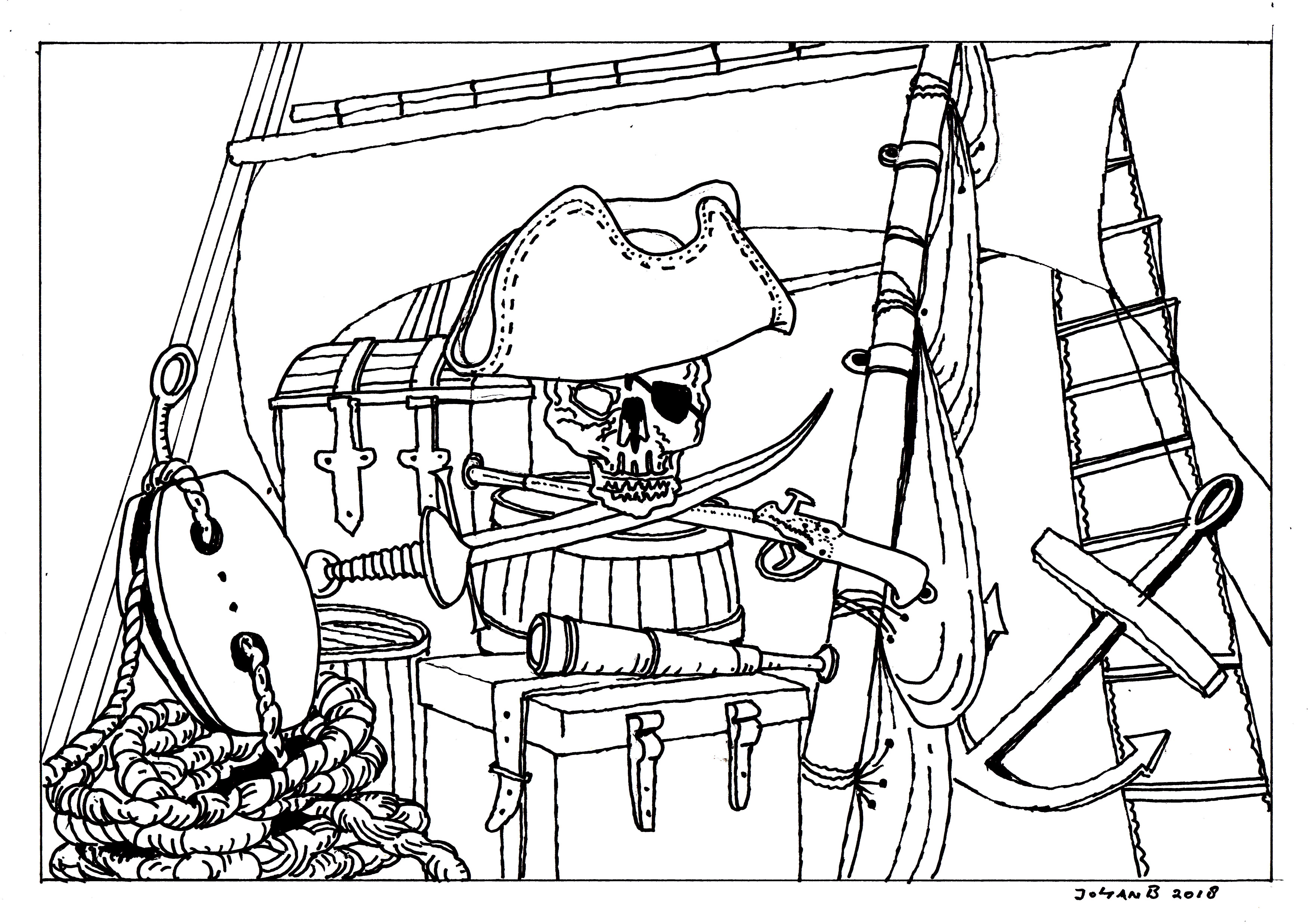 Piraat Kleurplaten Zoeken.Piraten Project Kleurplaten Johan Breuker Tekenaar